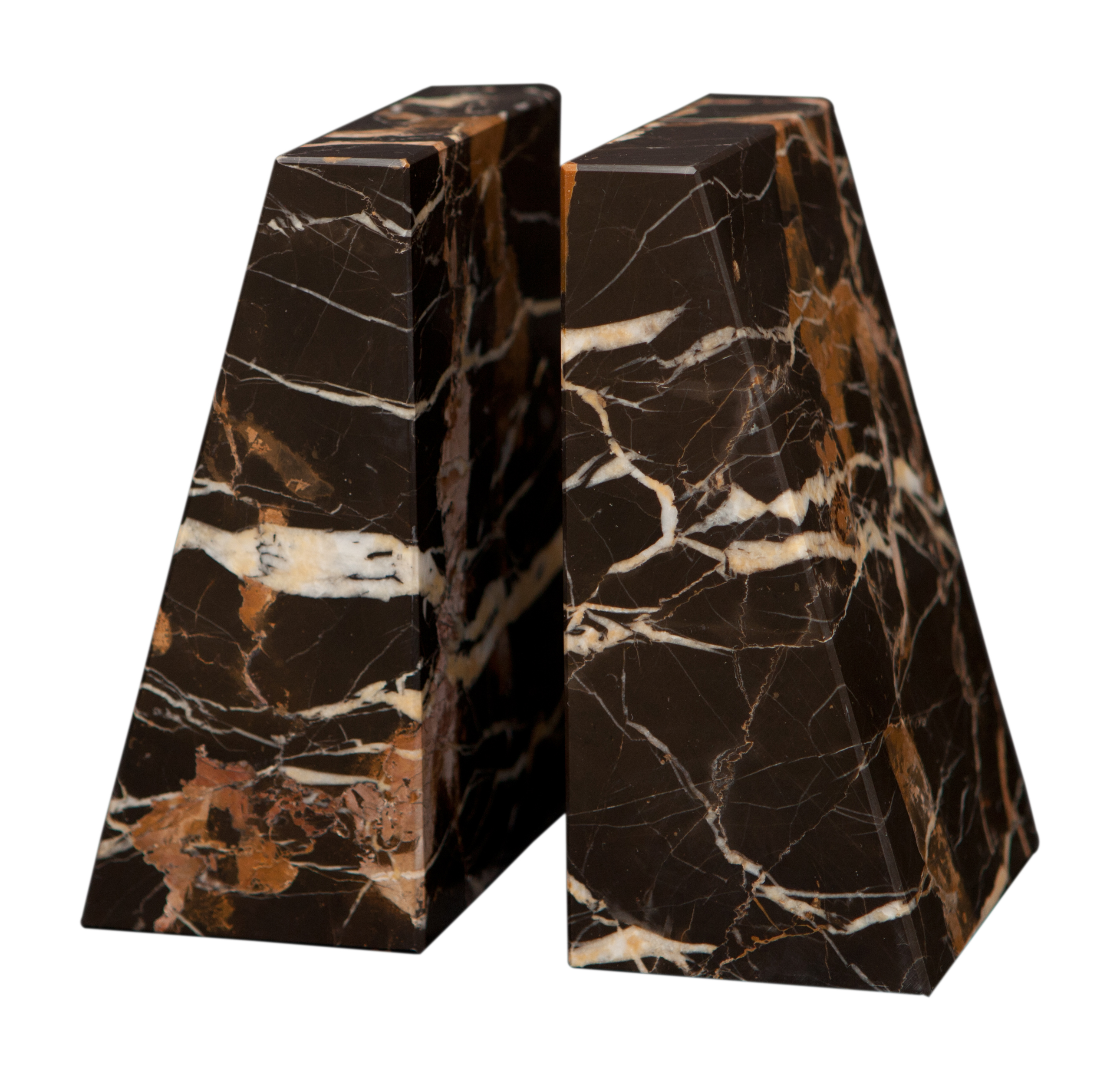 Black And Gold Marble Zeus Bookends