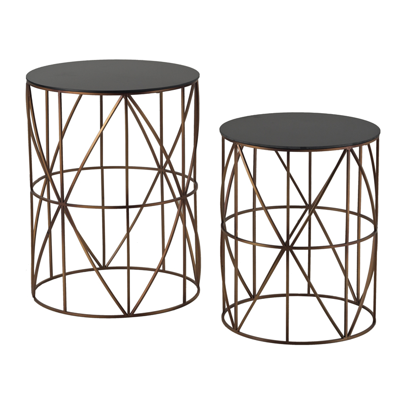 Bradfield set of two drum side tables for Drum side table