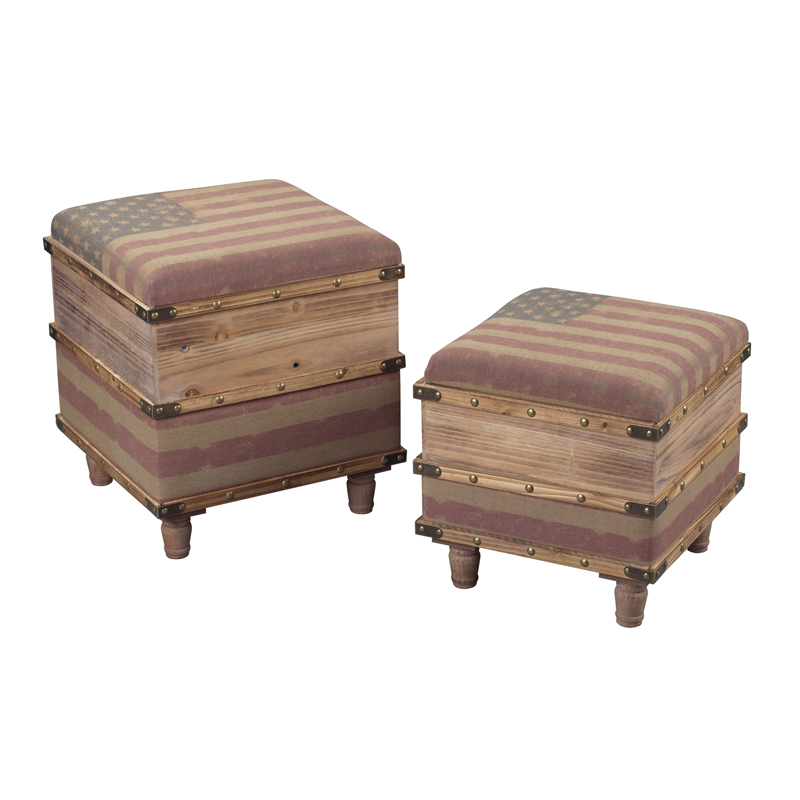 Wooden Ottoman With Storage Designs ~ National set of two wooden storage ottomans