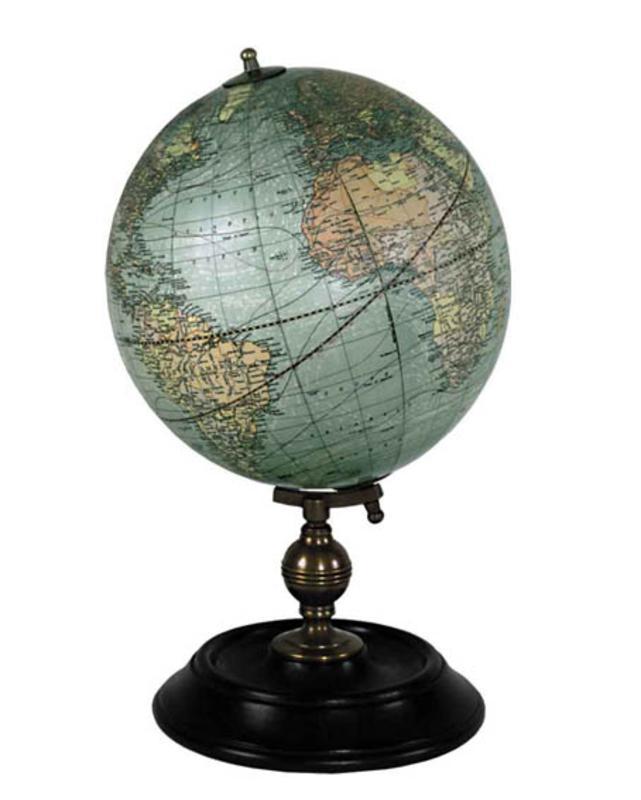 1921 Usa Globe Weber Costello Nautical Accent Decor